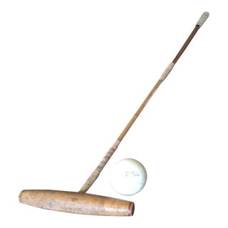 Vintage Polo Mallet and Ball Set For Sale