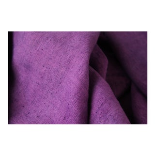 Dyed French Antique Linen Sheet Fabric Bright Vibrant Purple Upholstery Pillows 76.5 X 119 Inches For Sale