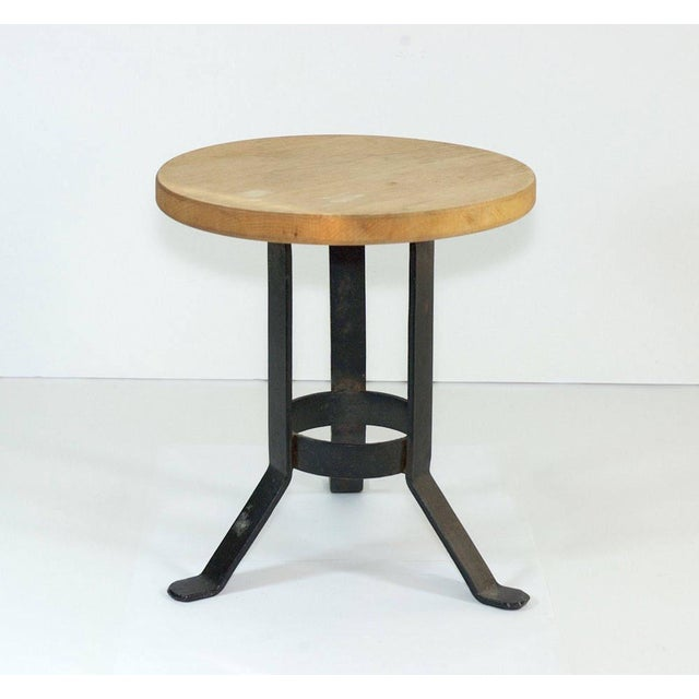 Vintage oak and cast iron foot stool or side table. Maker unknown.