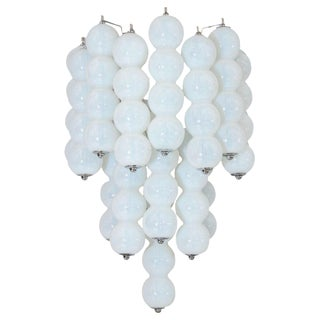 Pair of 1960s Mazzega Opaline Murano Glass Ball Sconces For Sale