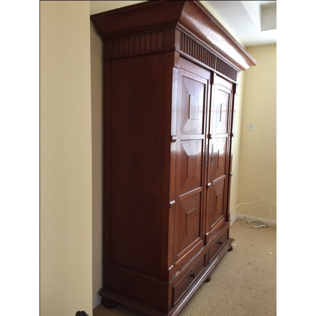 Solid Teak Art Deco Wood Armoire - Image 3 of 7