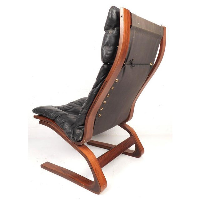 Ingmar Relling Ingmar Relling Mid-Century Leather Lounge Chair & Ottoman For Sale - Image 4 of 8