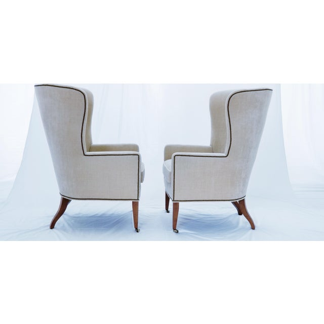 Baker Furniture Modern Wingback Accent Chairs - A Pair For Sale - Image 9 of 12