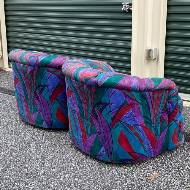 Textile 1980s Modern Swivel Chairs by American of Martinsville - a Pair For Sale - Image 7 of 13