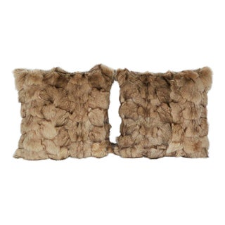 Luxury Fox Fur Throw Pillows in Taupe For Sale
