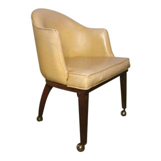 Mid Century Danish Modern Teak Yellow Accent Club Chair on Brass Casters For Sale