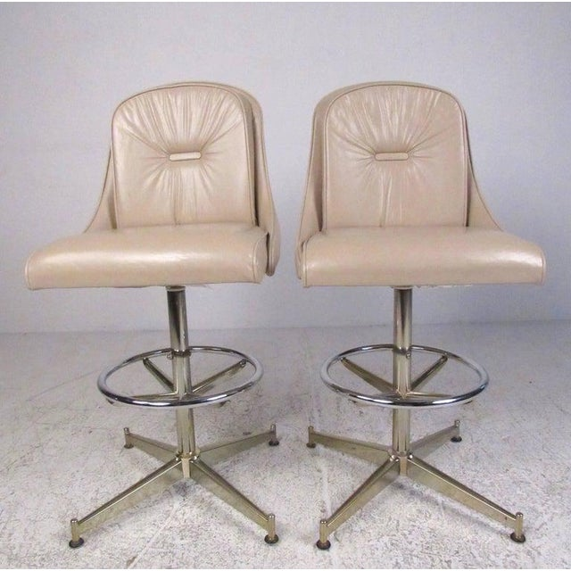 1970s Contemporary Modern Upholstered Dry Bar With Stools For Sale - Image 5 of 11
