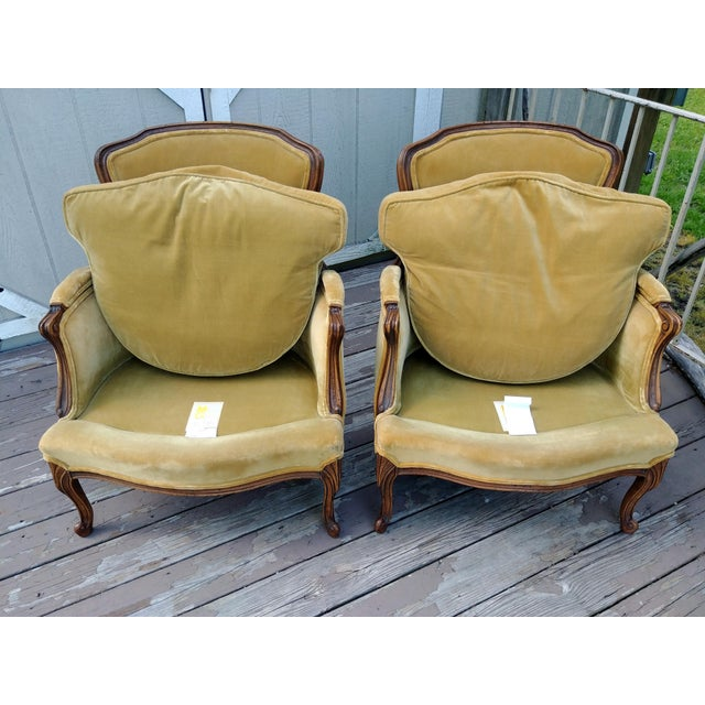 Vintage Meyer Gunther Martini Louis XV Carved Hardwood Bergere French Chairs- a Pair For Sale - Image 10 of 13