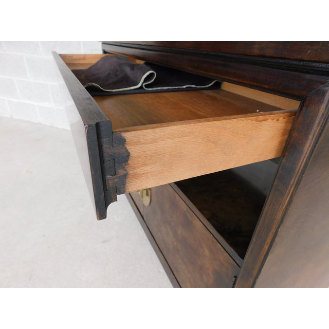 Thomasville Campaign Style Burl Walnut Flip Top Rolling Server For Sale - Image 9 of 12