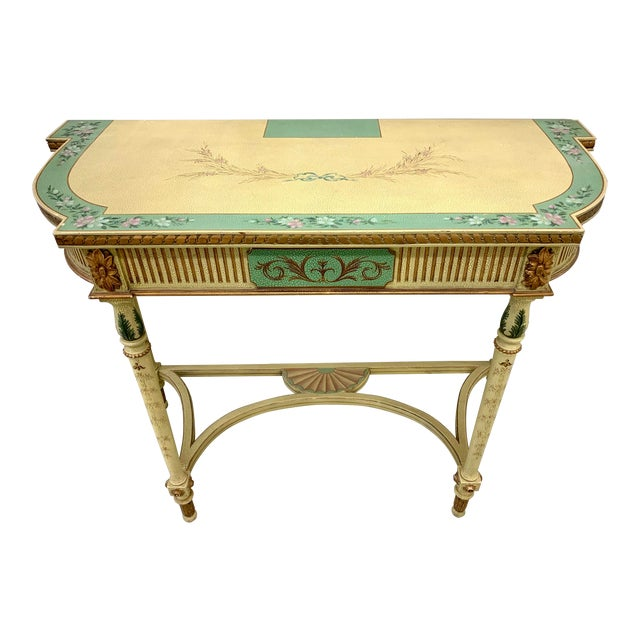 French Country Hand Painted Maitland Smith Console Table For Sale