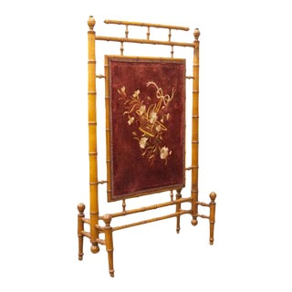 French Needlework Faux Bamboo Fire Screen For Sale