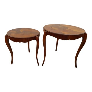 Art Deco Styled Nesting Tables With Pieced Inlaid Design - 2 Pieces For Sale