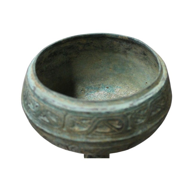 Chinese Oriental Green Bronze-Ware Incense Holder Home Decor Display For Sale In San Francisco - Image 6 of 7