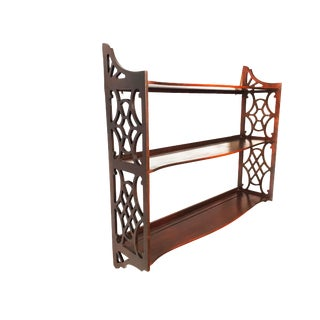 1950s Art Nouveau 3 Tier Hanging Solid Wood Wall Shelf For Sale