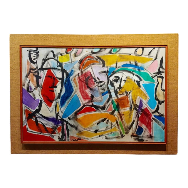 1960s Pascal Cucaro Abstract Faces in a Landscape Oil Painting For Sale
