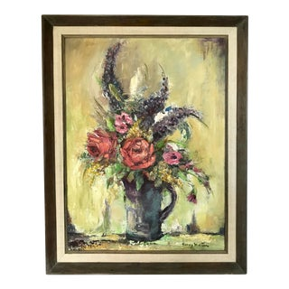 1960s Vintage Nancy Martin Floral Still Life Painting For Sale