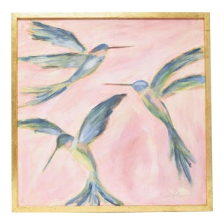 Elaine Gleason Ruby Throated Hummingbirds Painting With Gold Frame For Sale