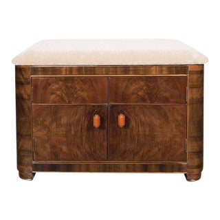Art Deco Machine Age Storage Bench in Bookmatched Walnut and Camel Mohair For Sale