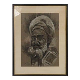 1950s Vintage Signed Charcoal Male Portrait Drawing For Sale