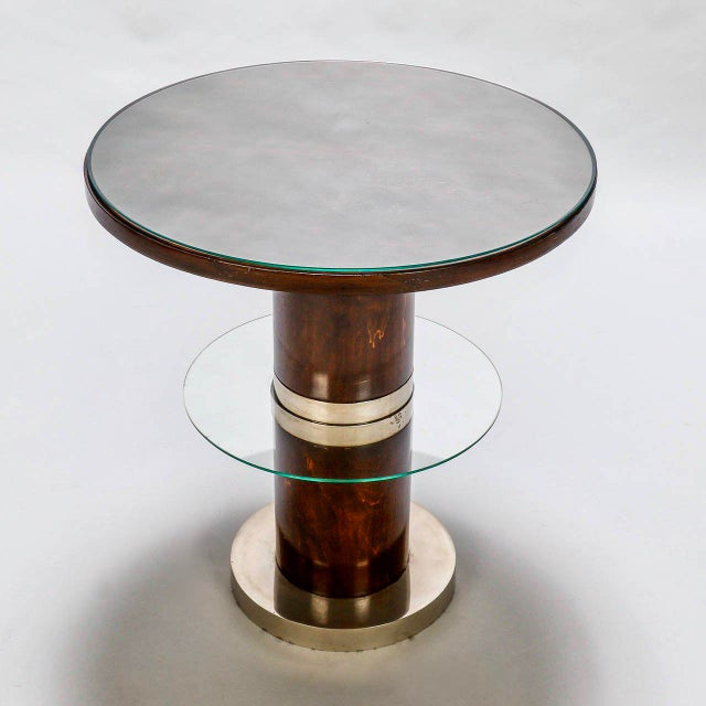 French Art Deco Macassar and Glass Table with Chrome Base - Image 2 of 7