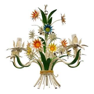 Vintage Floral Tole Chandelier For Sale