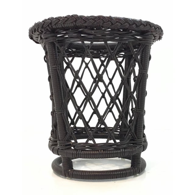 Stylish transitional Lane Venture outdoor accent table, vinyl covered wicker frame with a water glass top, showroom floor...