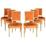 Image of Parisian Louis XVI Style Peach Velvet Dining Chairs - Set of 6 For Sale
