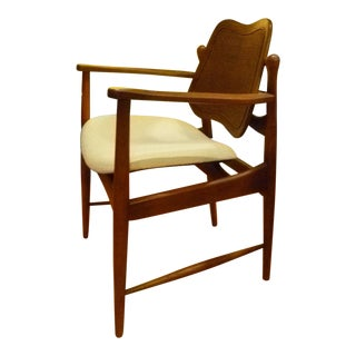 1950s Danish Modern Arne Vodder Desk Side Armchair in Teak and Cane For Sale