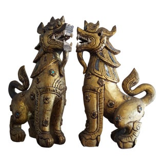 Asian Antique Carved Wood Foo Dogs - a Pair For Sale