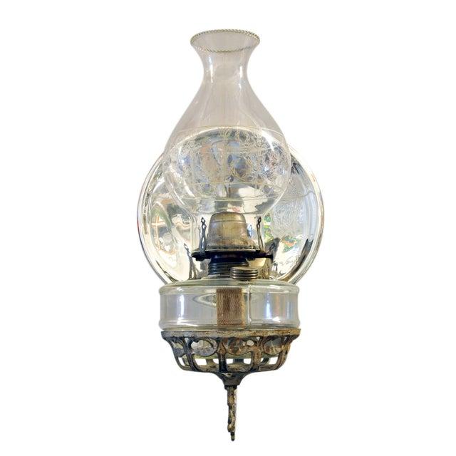 Antique Wall Bracket Oil Lamp In Cast Iron Chairish