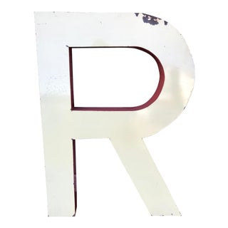 "Large Vintage Red & Yellow Enamel ""R"" Building Signage For Sale"