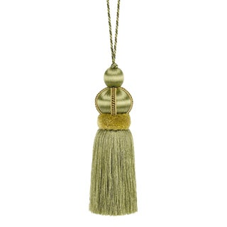 "Olive Green Key Tassel With Cut Ruche - Tassel Height - 5.75"" For Sale"