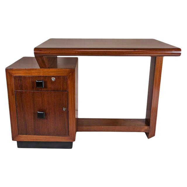 Mid-Century Modern Teak Desk With Ebonized Accents For Sale