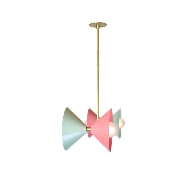 Blueprint Lighting Polarize Pendant Light in Brass With Celadon & Pink Enamel by Blueprint Lighting For Sale - Image 4 of 5