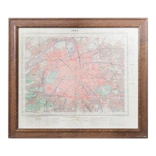 1950s Vintage Paris Map For Sale