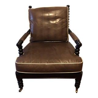Hickory Leather Jenny Lind Style Spool Chair in Leather For Sale