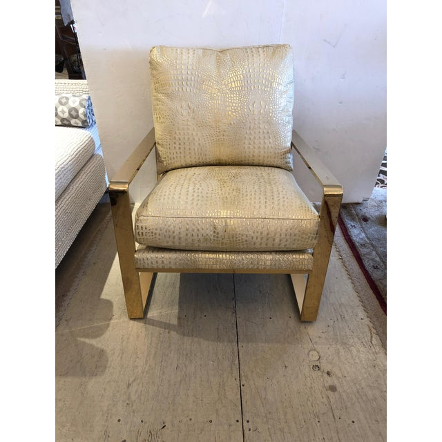 Metallic Faux Crocodile and Brass Club Chair For Sale - Image 13 of 13