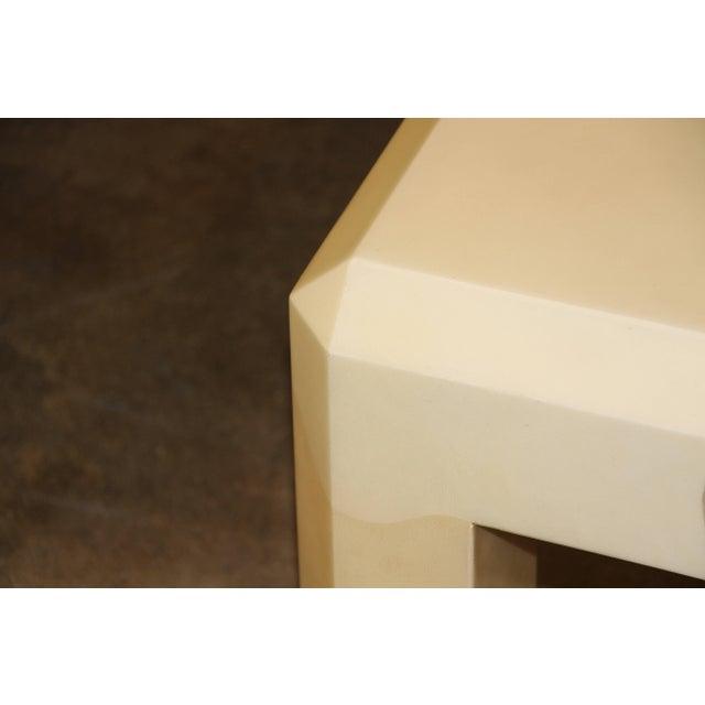 Karl Springer Karl Springer Tri Color Black Ivory and Tan Goatskin Parchment Coffee Table For Sale - Image 4 of 10