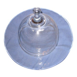 Mid-Century Domed Glass Cheese Platter For Sale