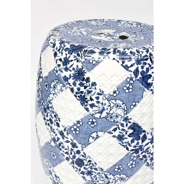 19th Century Antique 19th Century Minton Blue and White Basket Weave Garden Seat Stool For Sale - Image 5 of 13