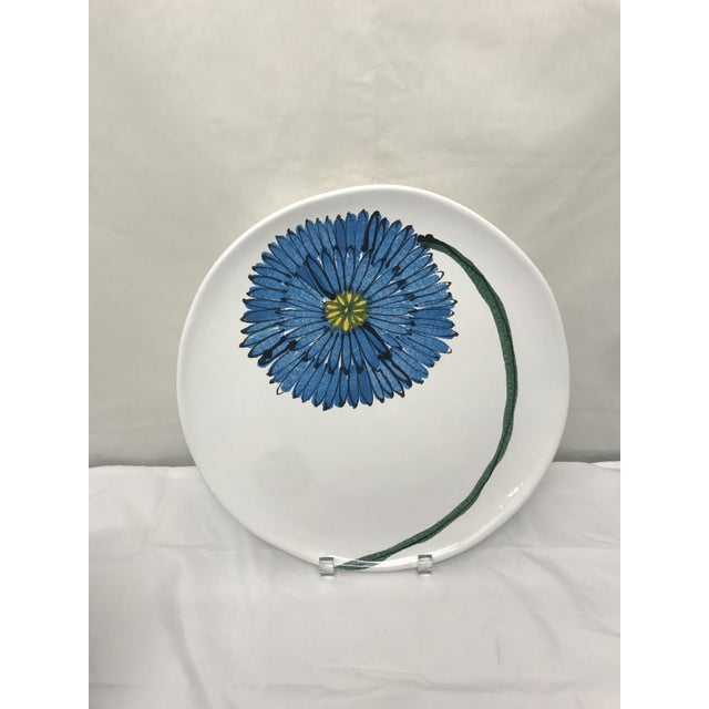 1980s Vietri Round Blue Flower Platter For Sale In West Palm - Image 6 of 6