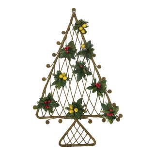Mid-Century Boho Wicker Rattan Christmas Tree Wall Hanging For Sale