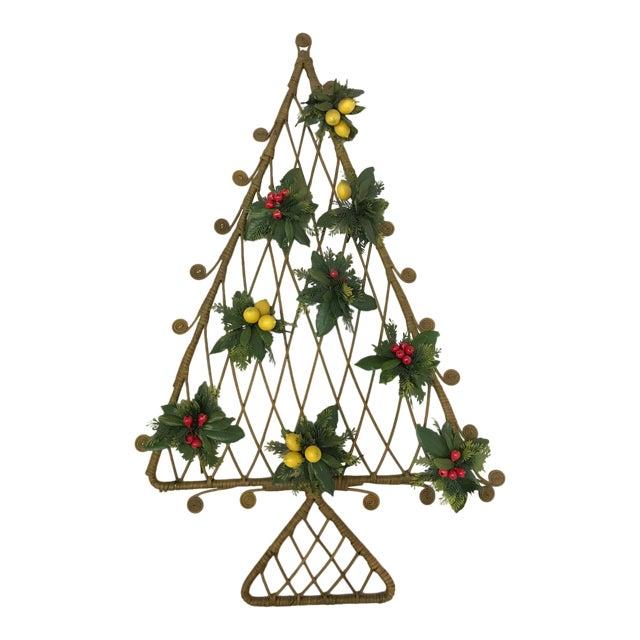 Mid-Century Boho Wicker Rattan Christmas Tree Wall Hanging For Sale