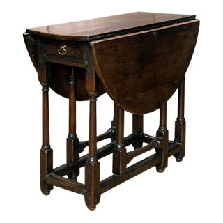 19th Century English Oak Drop Leaf Table For Sale