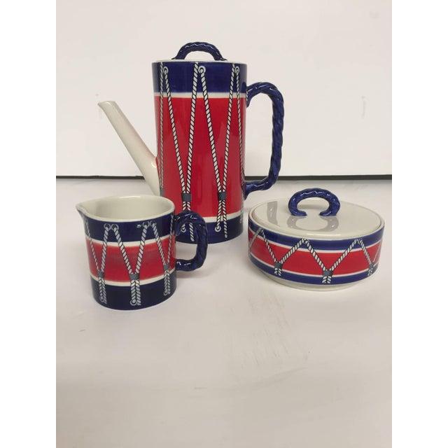 Ceramic Red White and Blue Mancioli Drum Motiffe Dinnerware For Sale - Image 7 of 11