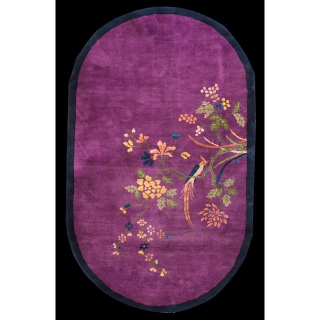 Art Deco 1920s Antique Purple Chinese Art Deco Rug- 4′3″ × 6′10″ For Sale - Image 3 of 4