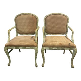 Vintage Regency Style Palm Frond Arm Chairs - a Pair For Sale