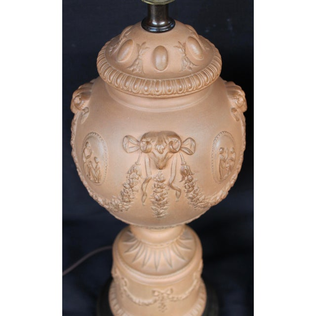 Neoclassical A Pair of Terra Cotta Neoclassical Urn Lamps For Sale - Image 3 of 6
