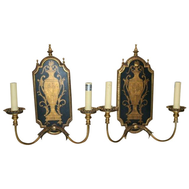 Neoclassical Two-Light Sconces - Pair - Image 1 of 4