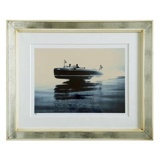 """Speedboat"" Blue Sepia Photograph Print for Trowbridge Gallery For Sale"